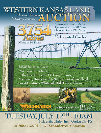 Kansas Land Auction - 3754 Acres in 16 Tracts - 22 Irrigated